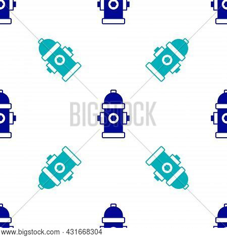 Blue Fire Hydrant Icon Isolated Seamless Pattern On White Background. Vector