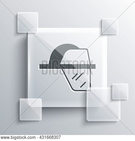 Grey Firefighter Helmet Or Fireman Hat Icon Isolated On Grey Background. Square Glass Panels. Vector