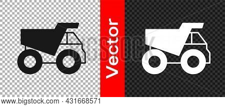 Black Mining Dump Truck Icon Isolated On Transparent Background. Vector
