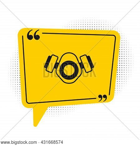 Black Gas Mask Icon Isolated On White Background. Respirator Sign. Yellow Speech Bubble Symbol. Vect