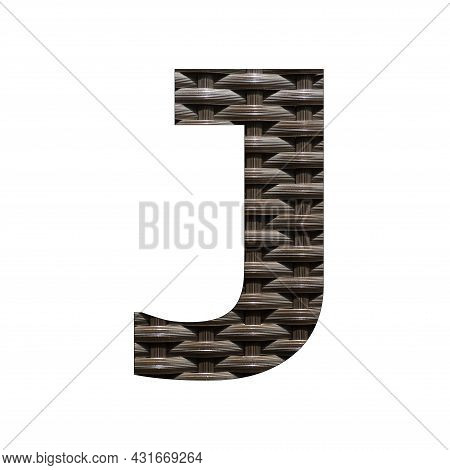 Uppercase Letter J - Synthetic Rattan Background