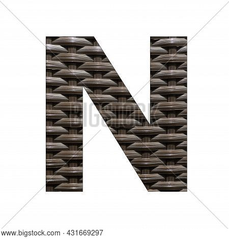 Uppercase Letter N - Synthetic Rattan Background