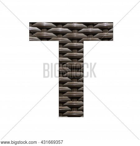 Uppercase Letter T - Synthetic Rattan Background