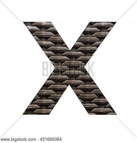 Uppercase Letter X - Synthetic Rattan Background