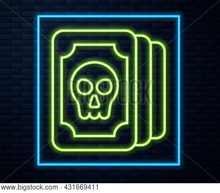Glowing Neon Line Tarot Cards Icon Isolated On Brick Wall Background. Magic Occult Set Of Tarot Card