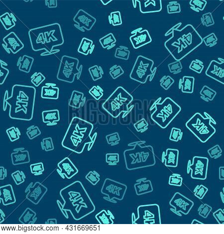 Green Line 4k Ultra Hd Icon Isolated Seamless Pattern On Blue Background. Vector