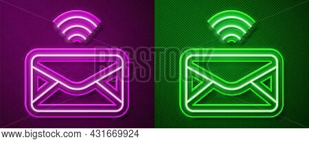 Glowing Neon Line Mail And E-mail Icon Isolated On Purple And Green Background. Envelope Symbol E-ma
