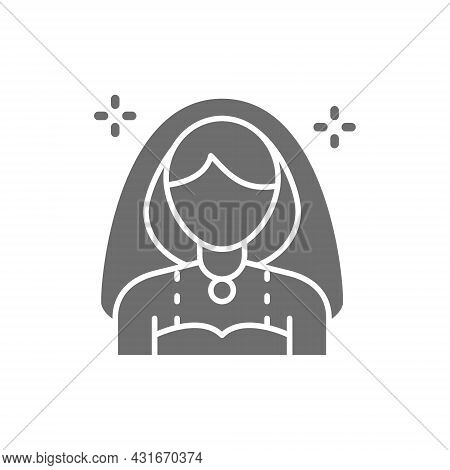 Bride, Girl With Veil Grey Icon. Isolated On White Background