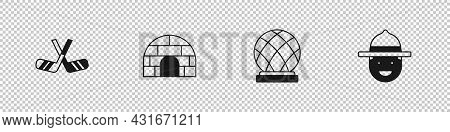 Set Ice Hockey Sticks, Igloo Ice House, Montreal Biosphere And Canadian Ranger Hat Icon. Vector