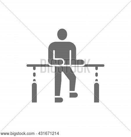 Patient Recovery, Physiotherapy, Rehabilitation Treatment Grey Icon.