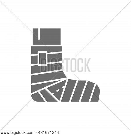 Leg Fracture, Plaster, Elastic Bandage Grey Icon.