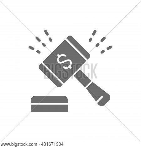 Auction Hammer, Gavel, Sales Of Company Stock Market Grey Icon.
