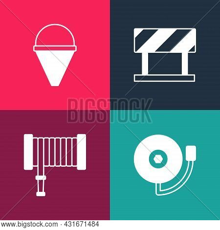 Set Pop Art Ringing Alarm Bell, Fire Hose Reel, Road Barrier And Cone Bucket Icon. Vector