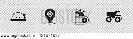 Set Miner Helmet, Gem Stone, Conveyor Belt Carrying Coal And Mining Dump Truck Icon. Vector