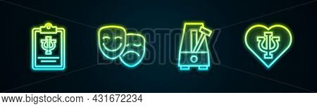 Set Line Psychology, Psi, Comedy And Tragedy Masks, Metronome With Pendulum And . Glowing Neon Icon.