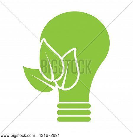Green Bio Bulb Eco Icon. Clean Energy Symbol. Organic Product Logo. Eco Product. Vector Illustration