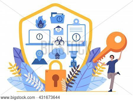 Disaster Recovery Icons Likes Fire, Documents, Letter, Location, Padlock And The Man Holds The Key L