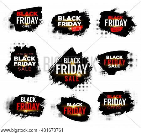 Black Friday Sale Banners, Weekend Shop Offer And Promo Labels With Halftone. Isolated Grunge Vector