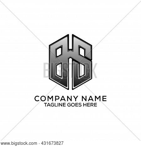 Hexagon Bs Letter Name Logo Design Vector, B And S Geometric Sign Best For Brand Name Logo Template