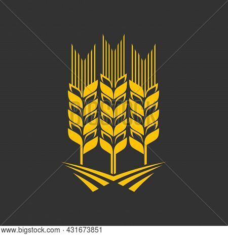 Cereal Ear And Spike Icon. Agriculture Company, Farm Or Bakery, Seeds Shop Or Store Vector Emblem, G