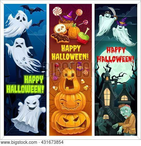 Happy Halloween Cartoon Vector Banners. Ghosts In Witch In Purple Hat Holding Sword , Jack-o-lantern