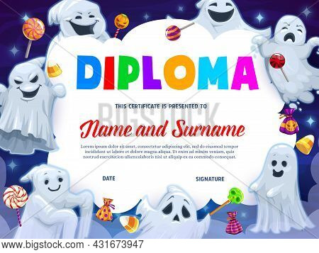 Kids Diploma, Cartoon Funny Halloween Ghosts And Sweets. Vector Certificate With Cute Spooks, Cookie