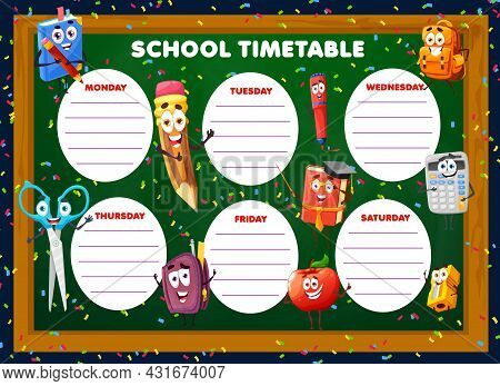 Education Timetable Schedule With Cartoon School Stationery Characters. Vector Weekly Classes Planne