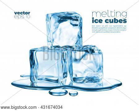 Melting Ice Cubes And Blue Water Puddle. Vector Transparent Icy Pieces, Frozen Crystals Pile In Liqu