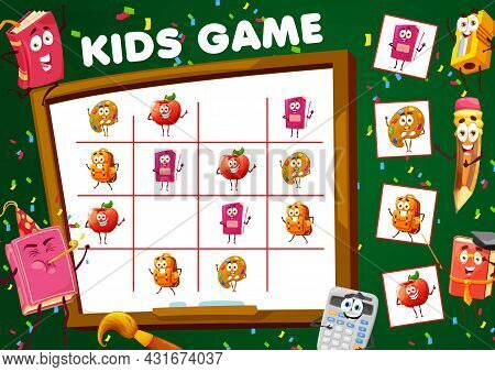 Sudoku Game With School Stationery Cartoon Characters. Kids Vector Riddle Worksheet With Funny Apple