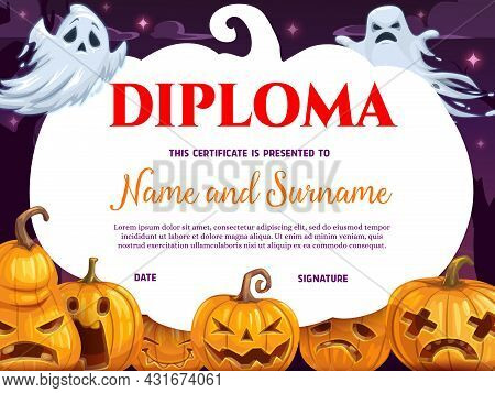 Children Graduation Diploma With Halloween Pumpkin And Ghosts. Spooky Spirits Flying At Night, Jack-