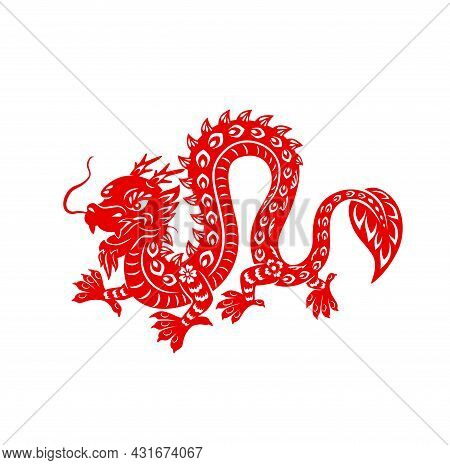 Chinese Lunar New Year Red Dragon, Vector Astrological Zodiac Animal Of China. Paper Cut Powerful Dr