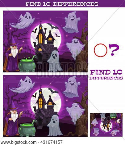 Kids Game Find Ten Differences. Vector Cartoon Halloween Characters Magician With Cauldron, Spooky G