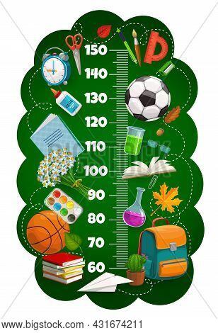 Kids Height Chart Ruler, Growth Meter With Schoolbag, Book, Sport Balls And Education Stationery. Is