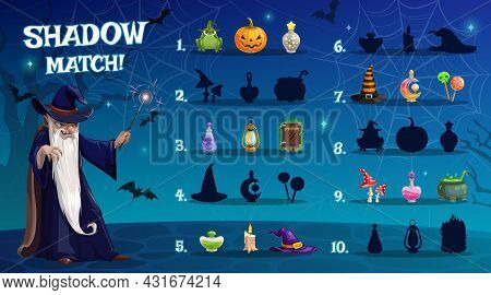 Child Halloween Shadow Match Game With Sorcery Artifacts. Kids Math Exercise, Children Playing Activ