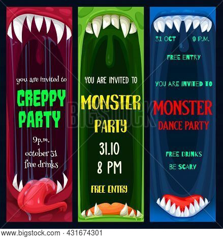 Halloween Dance And Creepy Monsters Party Posters. Monster Toothed Maws With Sharp Fangs And Tongue