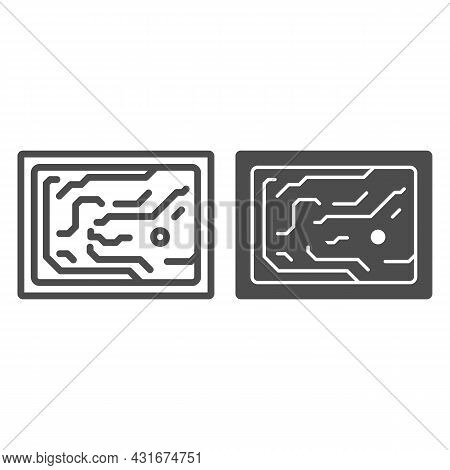 Printed Circuit Board Simplified Diagram Line And Solid Icon, Electronics Concept, Pcb Vector Sign O