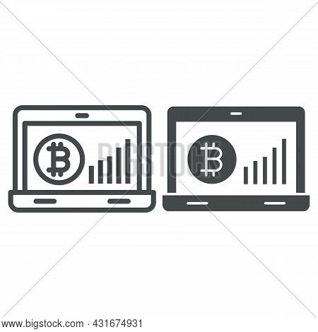 Bitcoin Surge Graph On Laptop Screen Line And Solid Icon, Cryptocurrency Concept, Btc Rate Vector Si