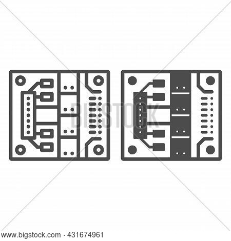 Printed Circuit Board With Mounting Slots Line And Solid Icon, Electronics Concept, Pcb Vector Sign