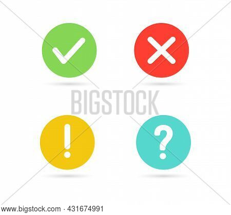 Green Check Mark And Red Cross Icon. Exclamation Mark, Question Mark Icon Isolated On White Backgrou