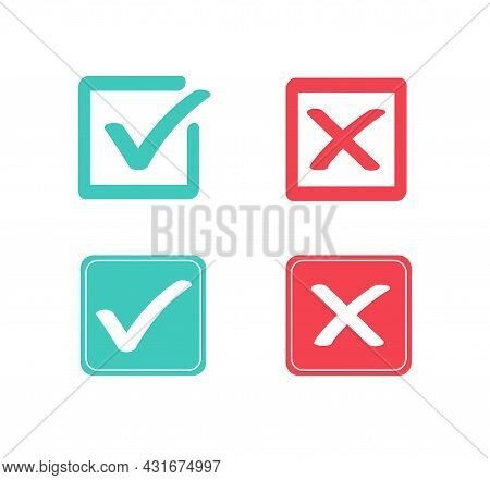 True And False Flat Icons. Green Check Mark And Red Cross Icon. Yes Or No Symbol. Vector Illustratio