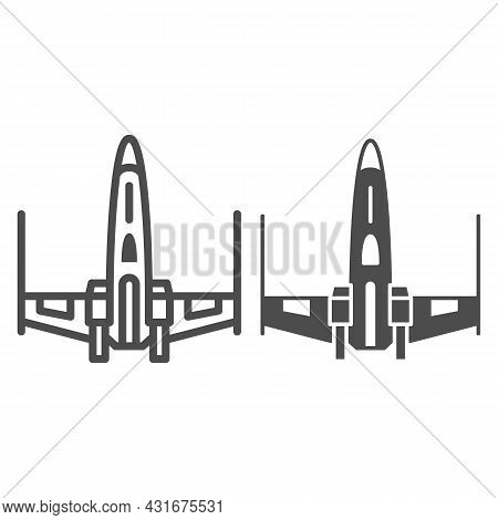 X Wing X Fighter Line And Solid Icon, Star Wars Concept, X Wing Starfighter Vector Sign On White Bac