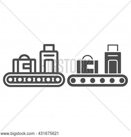 Luggage Conveyor Belt With Bags Line And Solid Icon, Security Check Concept, Baggage Claim Vector Si
