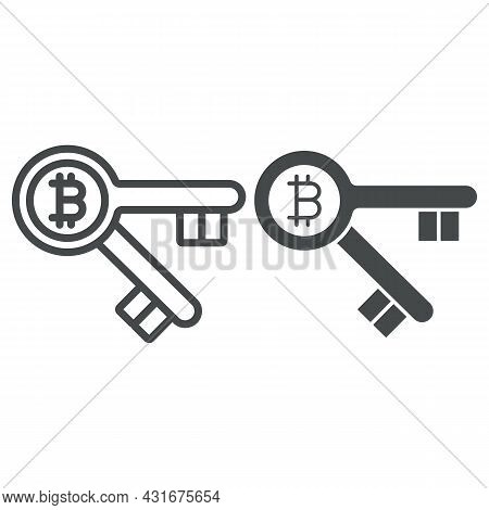 Bitcoin Is Key Line And Solid Icon, Cryptocurrency Concept, Btc Unlocks Possibilities Vector Sign On