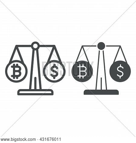Equivalent Bitcoin And Dollar On Scales Line And Solid Icon, Cryptocurrency Concept, Btc Usd Vector