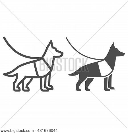 Sniffer Police Dog, Shepherd On Leash Line And Solid Icon, Security Check Concept, Service Dog Vecto