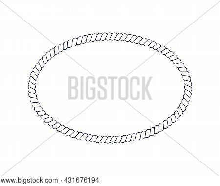 Oval Rope Frame For Photo Or Picture In Retro Yacht Style. Nautical Design Element For Print And Dec