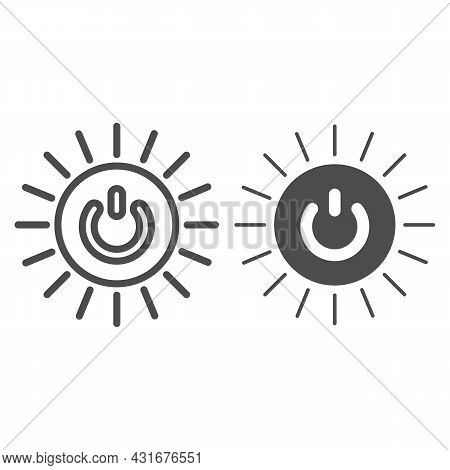 Round Switch On Off Button With Sun Rays Line And Solid Icon, Energy Concept, Source Of Power Vector