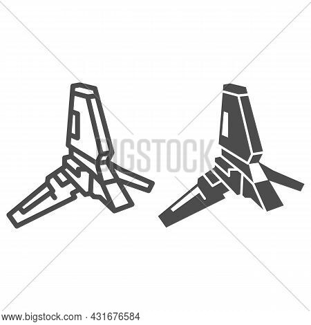 Lambda Class T 4a Shuttle Line And Solid Icon, Star Wars Concept, Imperial Transport Vector Sign On