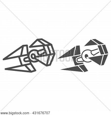 Tie In Interceptor Line And Solid Icon, Star Wars Concept, Tie Fighter Vector Sign On White Backgrou