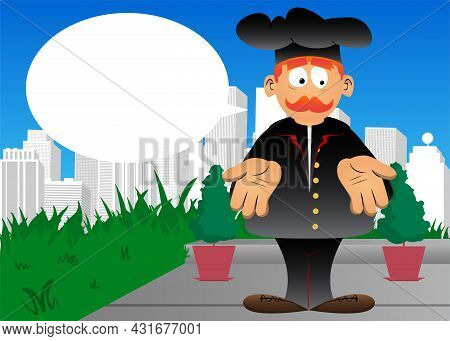 Fat Male Cartoon Chef In Uniform Showing Something With Both Hands Or Expressing Don't Know Gesture.
